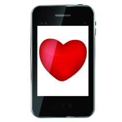 Abstract design mobile phone with heart love concept. vector ill